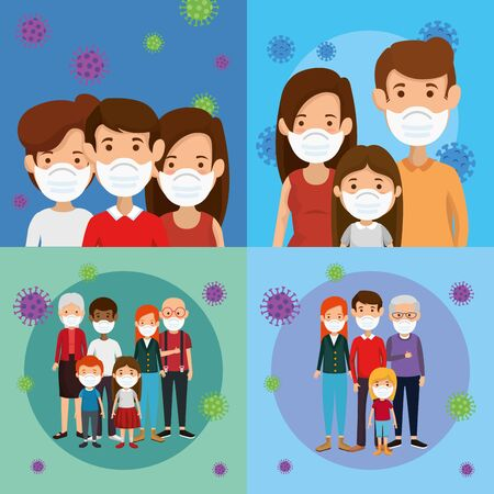 set scenes of families using face mask vector illustration design 일러스트