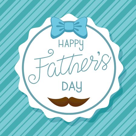 happy fathers day card with bow ribbon and moustache in frame circular vector illustration design Illustration