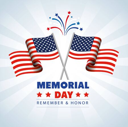 memorial day with decoration of flags usa vector illustration design