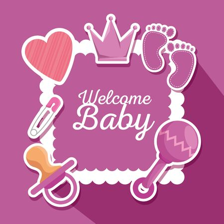poster with crown and footprint with rattle and pacifier decoration to baby shower vector illustration