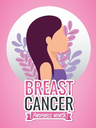 Breast cancer campaign design with woman face over pink background