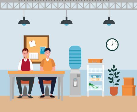 businessmen teamwork sitting in the chair and table with noteboard to office work, vector illustration