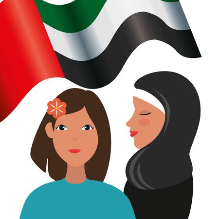 islamic women with traditional burka and emirates arab flag vector illustration design Иллюстрация