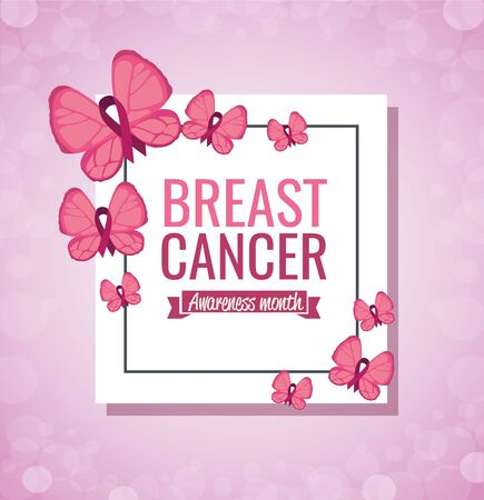 Breast cancer campaign design with butterfly over pink background Ilustracja