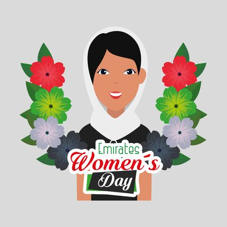 patriotic woman with flowers and leaves decoration to emirates womens day, vector illustration Иллюстрация