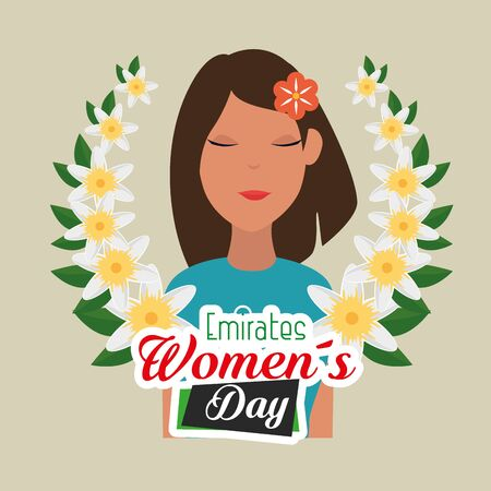 happy woman with flowers and leaves style to emirates womens day, vector illustration