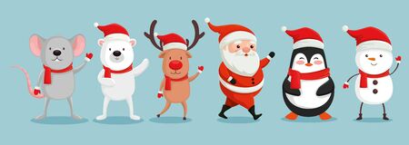 group of cute characters christmas vector illustration design Ilustração
