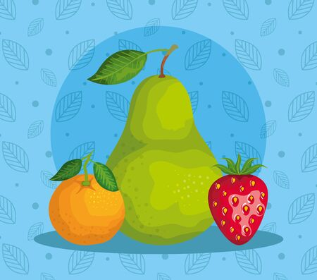 delicious orange with pear and strawberry fruits over leaves with poins blue background, vector illustration Vettoriali
