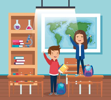 girls and boy students with backpacks in the classroom to back to school illustration