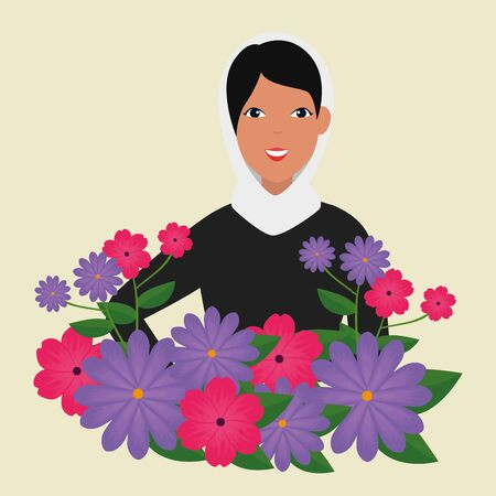 flowers and leaves with happy woman design to emirates womens day, vector illustration Иллюстрация