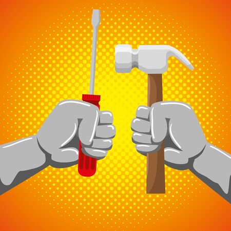 hands with screwdriver and hammer professional worker to labor day, vector illustration