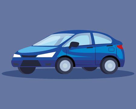 blue sedan car vehicle transport icon vector illustration design