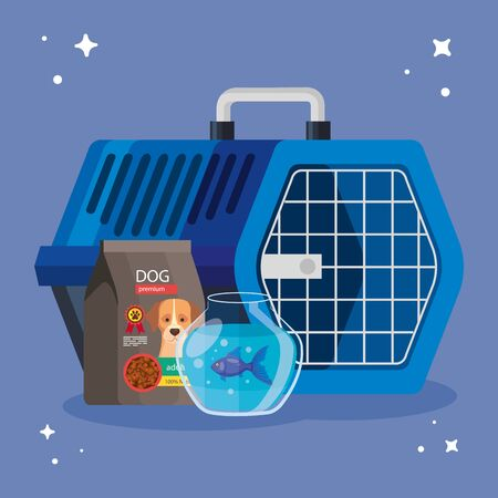 round glass fishbowl with bag food dog and pet carry box vector illustration design