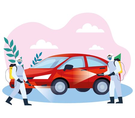 automobile disinfectant services for covid 19 disease vector illustration design