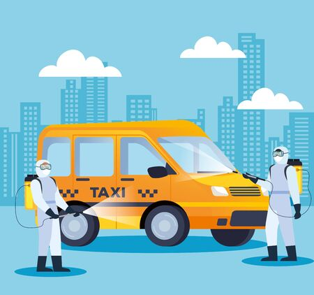 vehicle taxi disinfectant services for covid 19 disease vector illustration design
