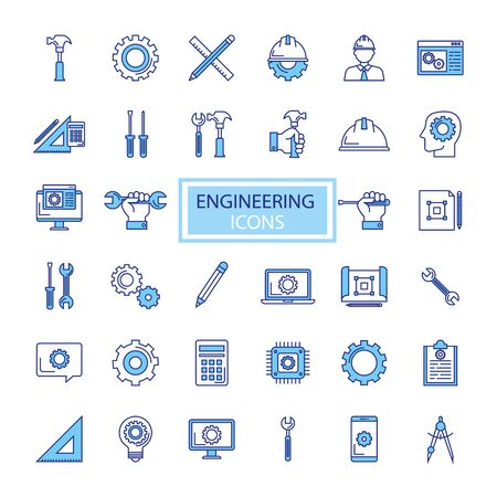 bundle of engineering set icons vector illustration design