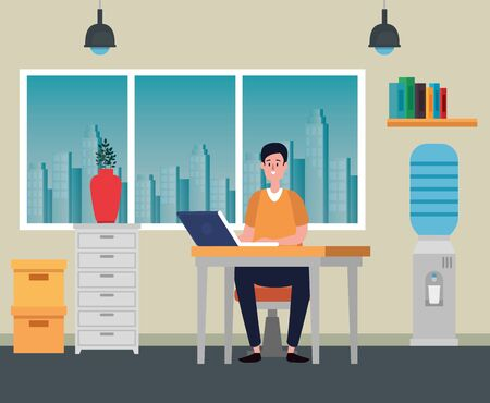 businessman sitting in the chair with laptop technology to office work, vector illustration