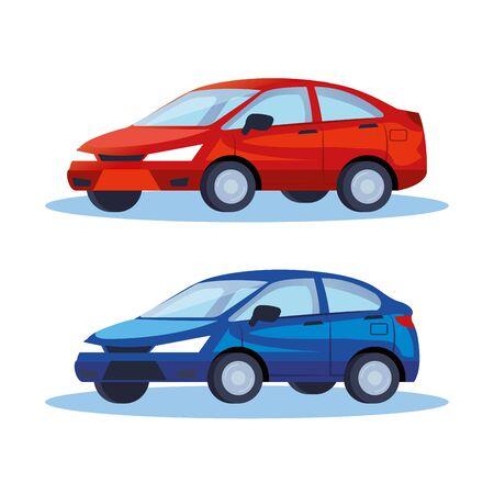 sedan cars vehicles transport icons vector illustration design Illustration