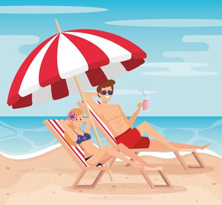 woman and man taking sun in the tanning char with umbrella to summer time vector illustration