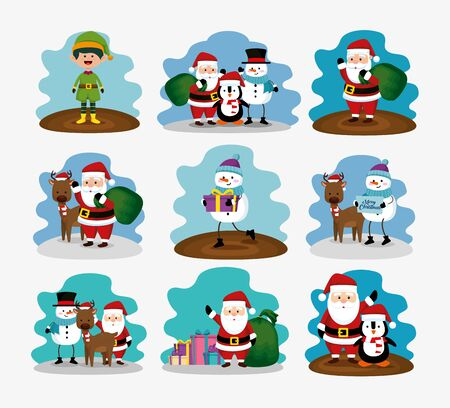 bundle christmas with reindeer and set characters vector illustration design