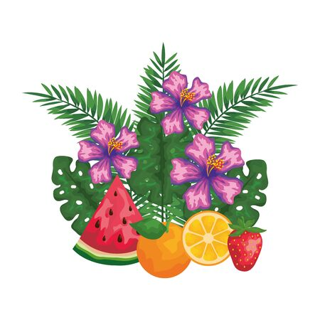 fruits with leafs palms and flowers vector illustration design Çizim
