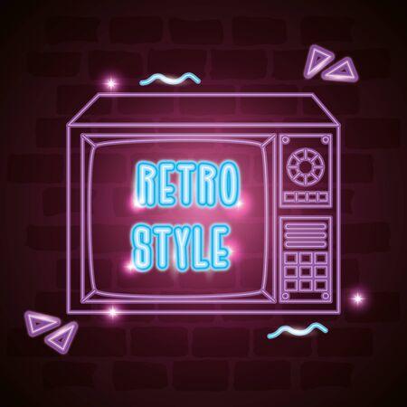 tv nineties retro style neon light vector illustration design