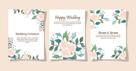 set of wedding invitation cards with flowers decoration vector illustration design