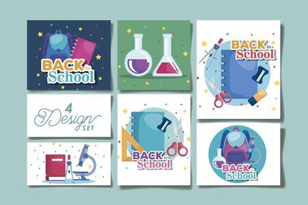 bundle back to school with four designs vector illustration Иллюстрация