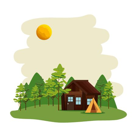 camping zone with camping tent and cabin scene vector illustration design Иллюстрация