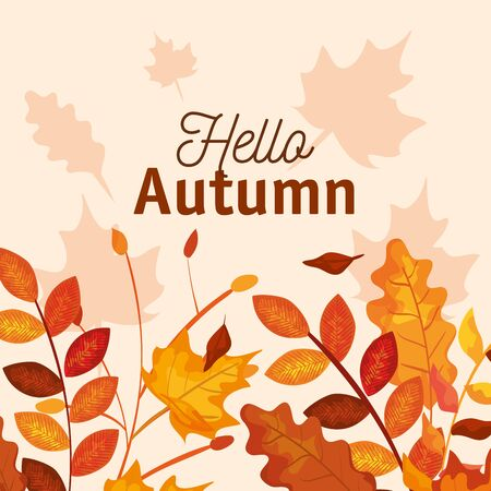 autumn season with leaves and branches plants design over pink background, vector illustration