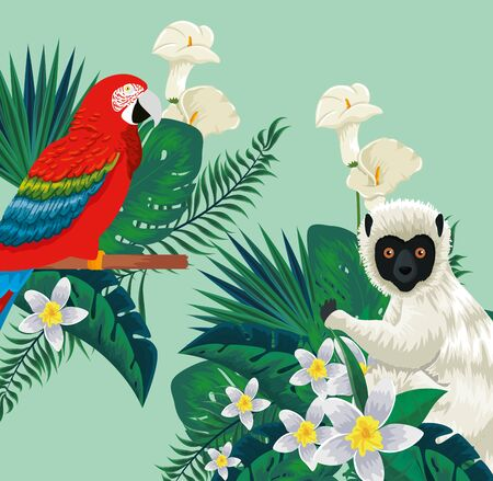 parrot and lemur animals with flowers plants and leaves vector illustration Иллюстрация