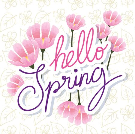 hello spring with flowers decoration vector illustration design