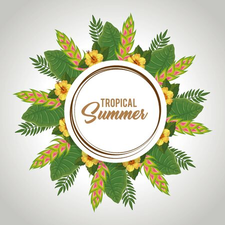 tropical summer poster with flowers and leafs vector illustration design