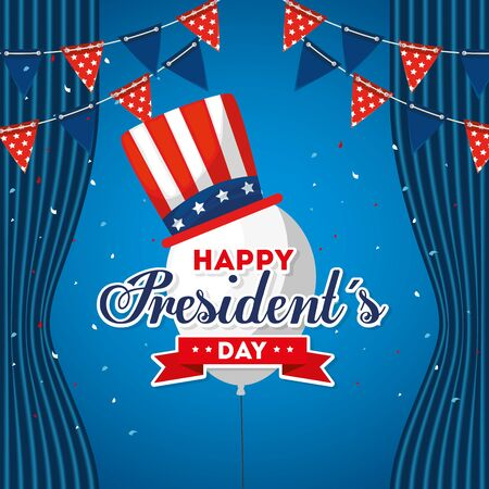 Balloon with hat design, Usa happy presidents day united states america independence nation us country and national theme Vector illustration Иллюстрация