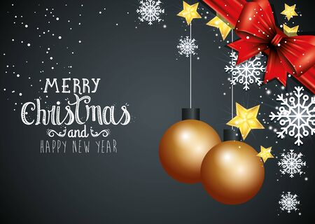 poster of merry christmas and happy new year with decoration vector illustration design Çizim
