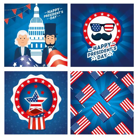 Men avatars cartoons design, Usa happy presidents day united states america independence nation us country and national theme Vector illustration Иллюстрация