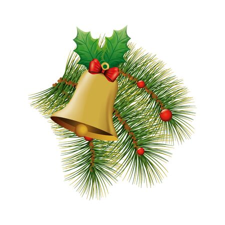 bell christmas decoration with bow ribbon and leafs vector illustration design