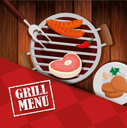 grill menu with oven and icons in wooden background vector illustration design Ilustracja