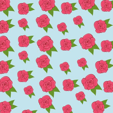 exotic roses plants with leaves background vector illustration