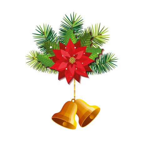 flower with bells christmas hanging isolated icon vector illustration design