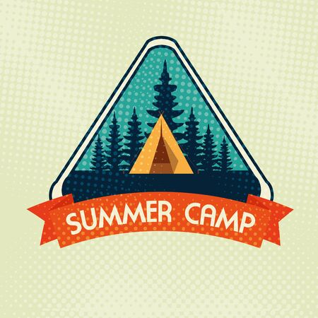 label of camp with pines trees and ribbon to wanderlust adventure vector illustration Иллюстрация