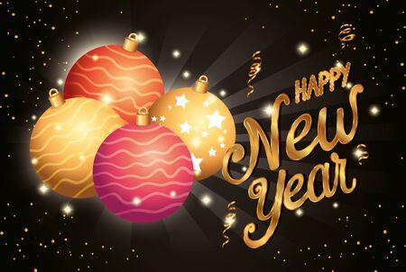 poster of happy new year with balls decoration vector illustration design
