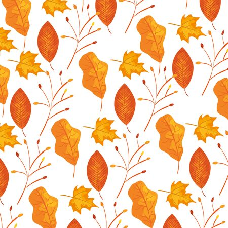 autumn branch and dry leafs nature pattern illustration design