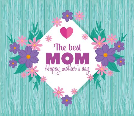 happy mother day card with flowers decoration and heart vector illustration design