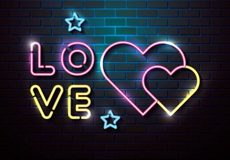 lettering of love with hearts of neon lights vector illustration design