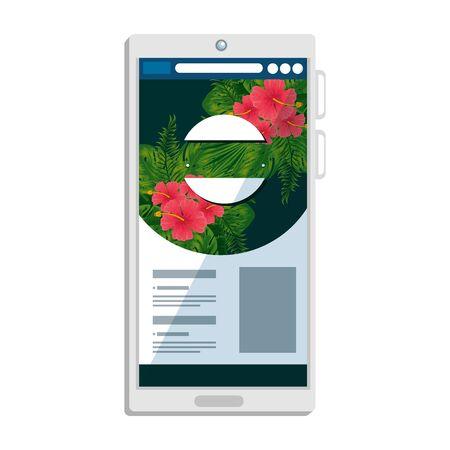 smartphone device with tropical fauna print vector illustration design Çizim