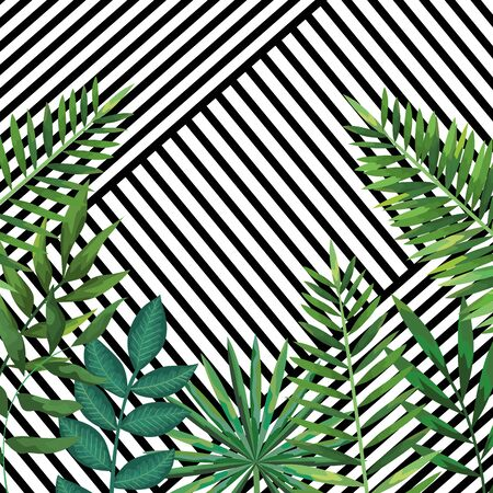 geometric lines texture decoration and tropical background with leaves style vector illustration