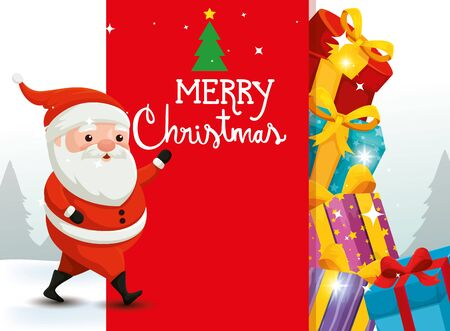 merry christmas card with santa claus and decoration vector illustration design