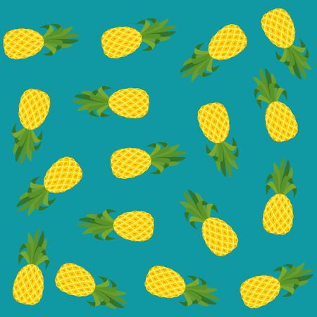 summer fresh fruits pineapples pattern vector illustration design