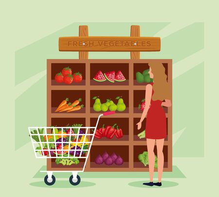 woman costumer in the natural store with vegetables and fruits over green background, vector illustration